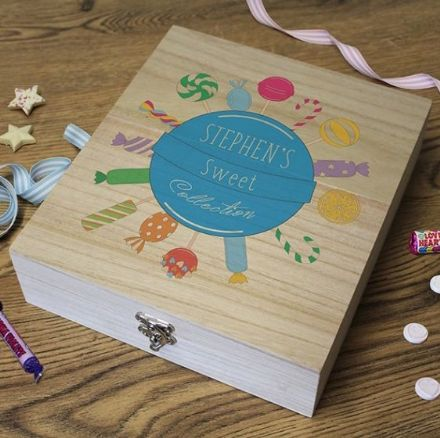 Wooden Retro Sweet Box - ' Sweet Collection' BLUE